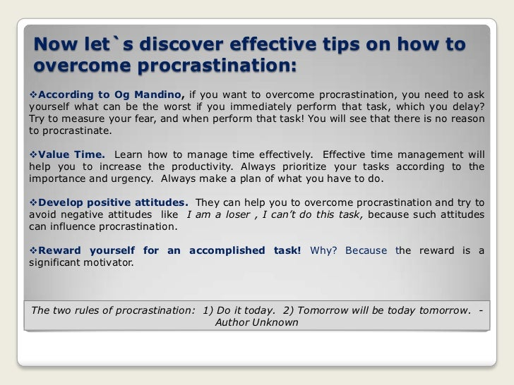Effective tips for overcoming procrastination