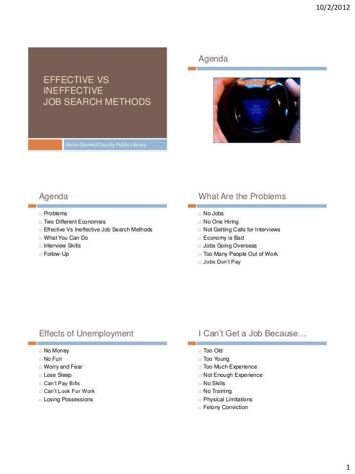 10/2/2012                                                  Agenda    EFFECTIVE VS    INEFFECTIVE    JOB SEARCH METHODS    ...
