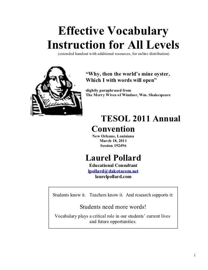 Effective VocabularyInstruction for All Levels   (extended handout with additional resources, for online distribution)    ...