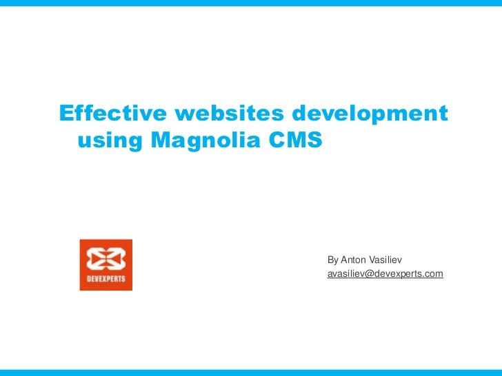 Effective websites development using Magnolia CMS                    By Anton Vasiliev                    avasiliev@devexp...