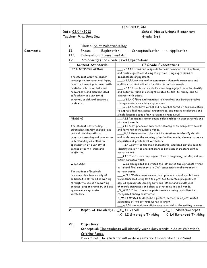 LESSON PLAN            Date: 02/14/2012                                     School: Nueva Urbana Elementary            Tea...
