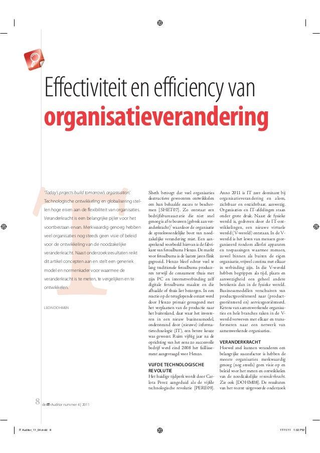 Effectiviteit en efficiency van                 organisatieverandering        T                  'Today's projects build t...