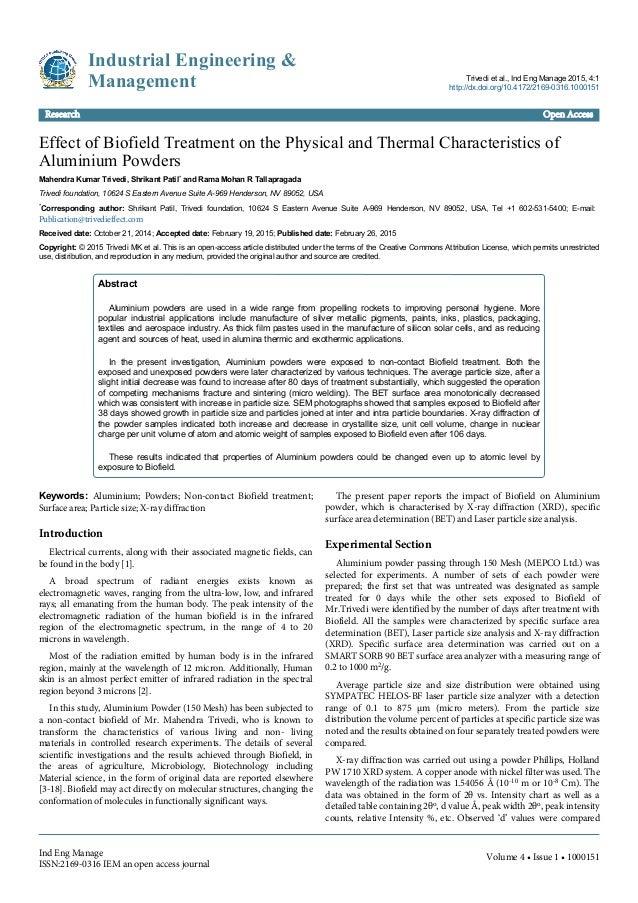 Effect of Biofield Treatment on the Physical and Thermal Characteristics of Aluminium Powders Mahendra Kumar Trivedi, Shri...