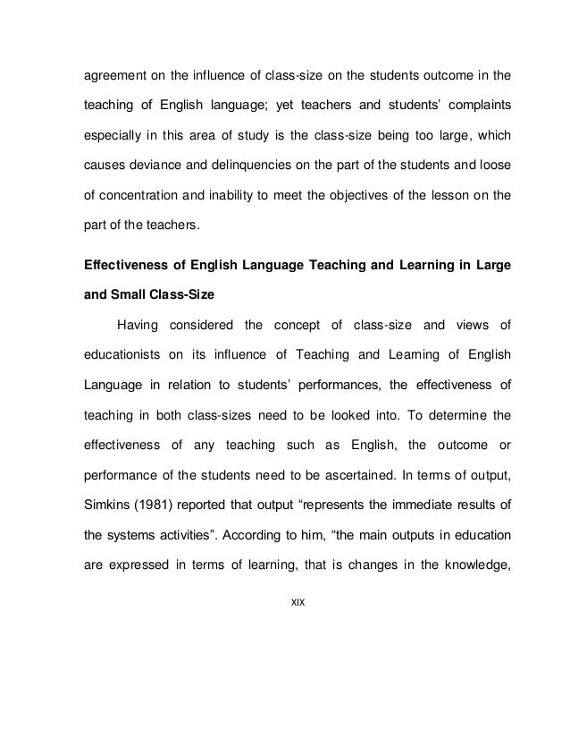 Effect of Class-Size on the teaching of English language