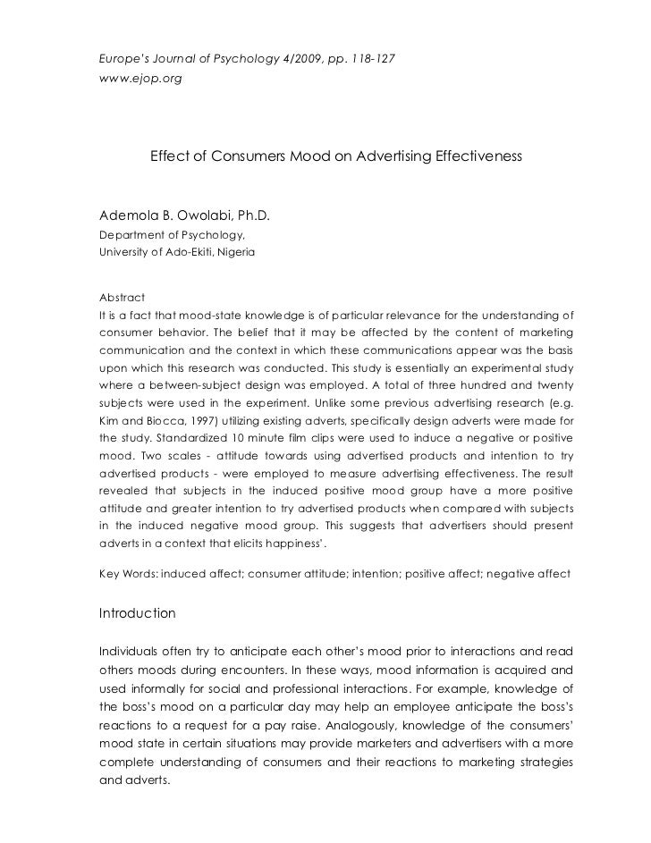 Europe's Journal of Psychology 4/2009, pp. 118-127www.ejop.org           Effect of Consumers Mood on Advertising Effective...