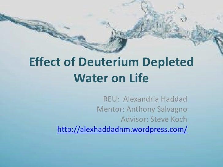 Effect of Deuterium Depleted         Water on Life                 REU: Alexandria Haddad                Mentor: Anthony S...