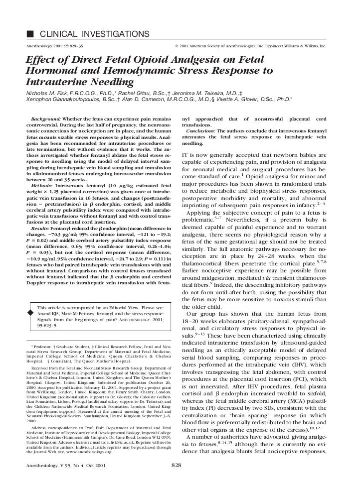 CLINICAL INVESTIGATIONSAnesthesiology 2001; 95:828 –35                                                       © 2001 Americ...