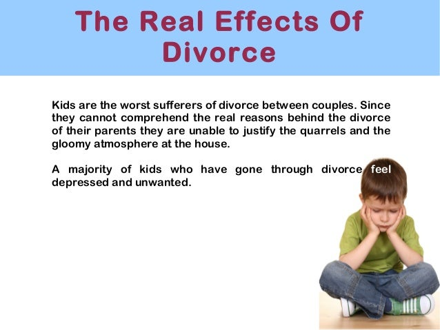 the impact of divorce on children and how to lessen it The effects of divorce on children has been well studied divorce may lead to negative relationship effects for children of divorced parents understanding the impact of divorce on children's future relationships may encourage parents to provide open more communication and positive role modeling in attempts to lessen these effects.