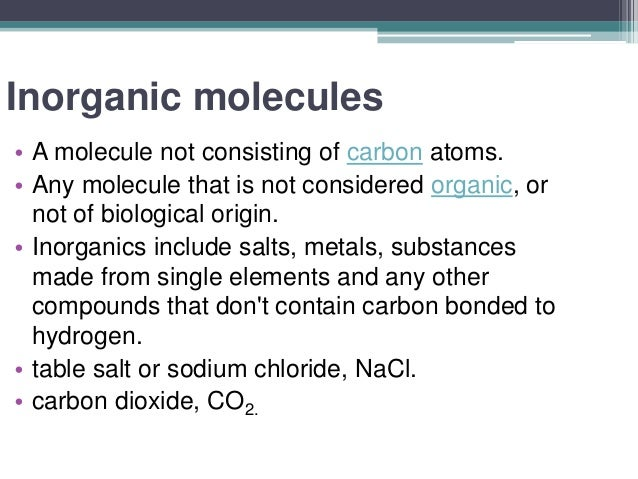 Effect of inorganic molecules