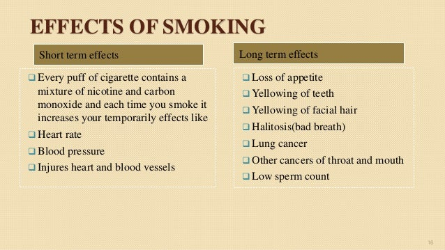 long term effects of smoking It just means that we don't know what the long-term effects may be  or copd,  and that switching from smoking to vaping reduces health risks.