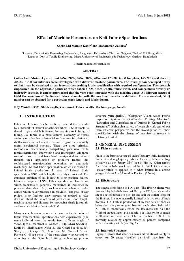 DUET Journal Vol. 1, Issue 3, June 2012 Dhaka University of Engineering & Technology, Gazipur 12 Effect of Machine Paramet...