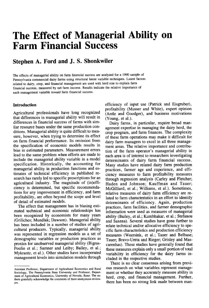 The Effect of Managerial Ability on Farm Financial Success Stephen A. Ford and J. S. Shonkwiler  The effects of managerial...