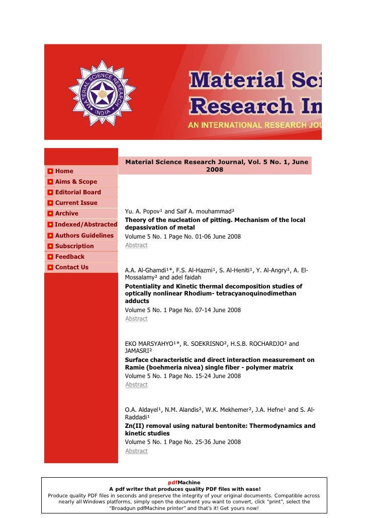 Material Science Research Journal, Vol. 5 No. 1, June   Home                                               2008   Aims & S...