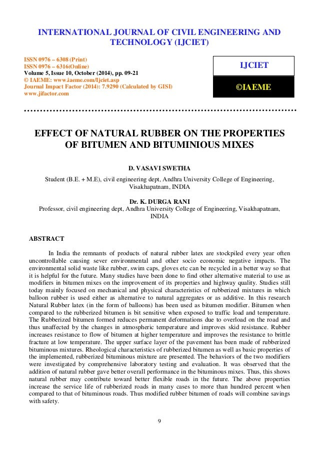 Effect of natural rubber on the properties of bitumen and bituminious…