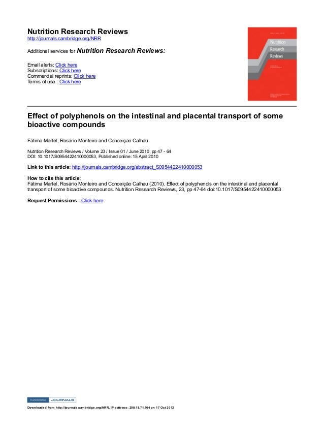 NutritionResearchReviews http://journals.cambridge.org/NRR AdditionalservicesforNutritionResearchReviews: Emailale...