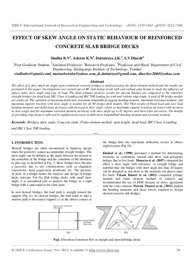 Effect of skew angle on static behaviour of reinforced concrete slab …