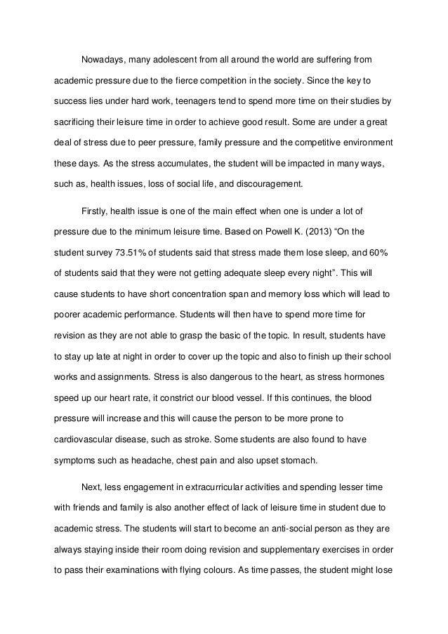 essay about stress on students Essay on stress management stress management - 1506 words stress is an unpleasant state of emotional and physiological arousal that people experience in situations that they perceive as dangerous or threatening to their well-being (kalat, jw 1993.