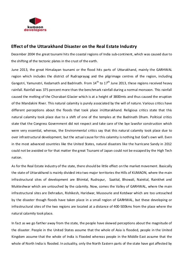 Effect of the Uttarakhand Disaster on the Real Estate Industry December 2004 the great tsunami hits the coastal regions of...