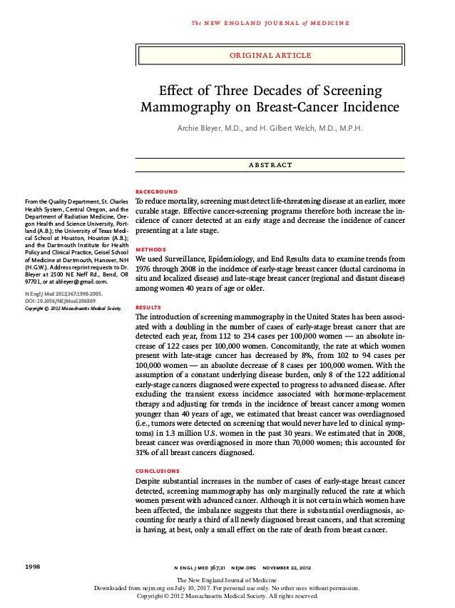 original article The new engl and jour nal of medicine n engl j med 367;21 nejm.org november 22, 20121998 Effect of Thre...