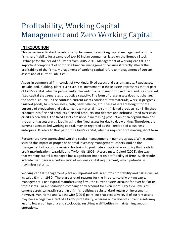 working capital management in indian companies