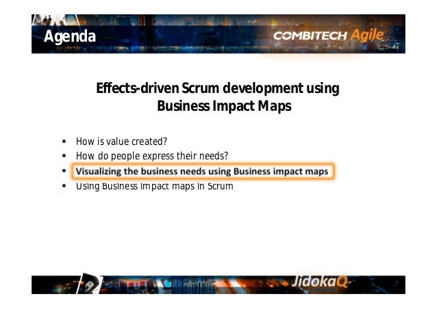 Gemba What is a Business Impact Map? A way of visualizing the Business needs and the Effects required to satisfy the needs