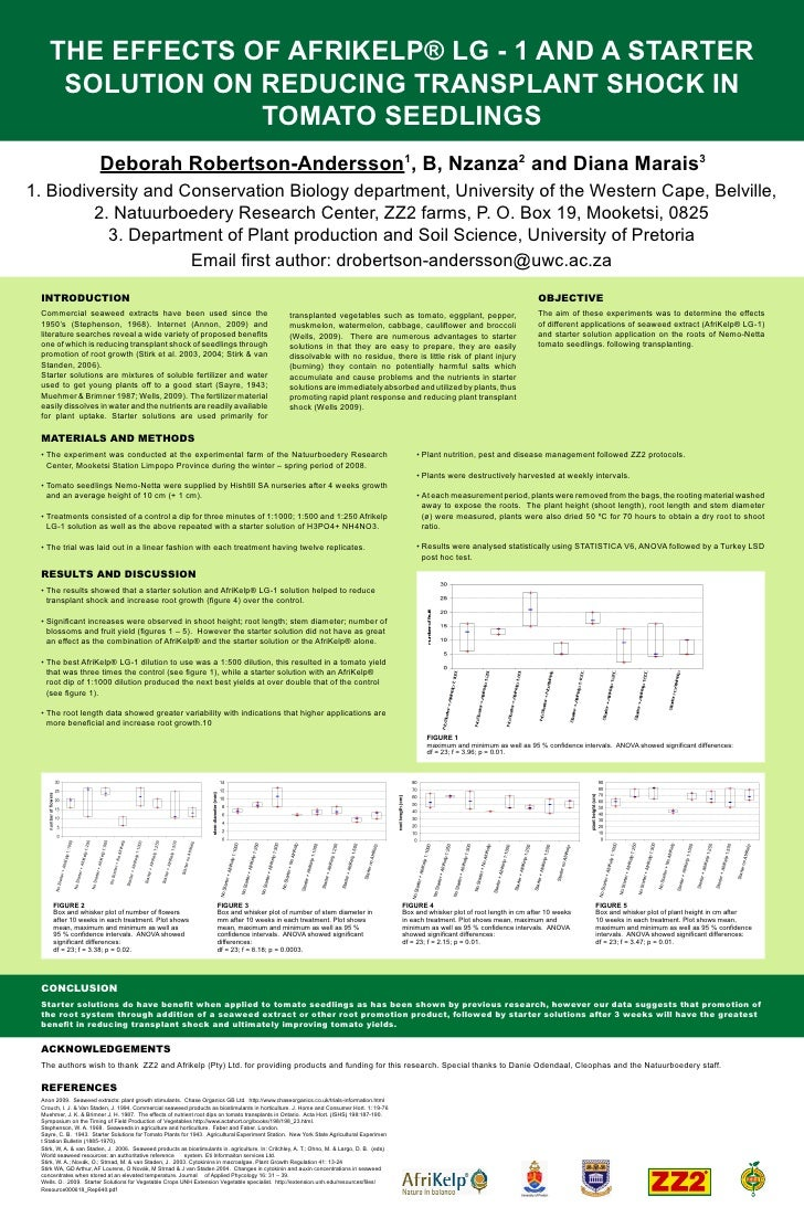 THE EFFECTS OF AFRIKELP® LG - 1 AND A STARTER      SOLUTION ON REDUCING TRANSPLANT SHOCK IN                  TOMATO SEEDLI...