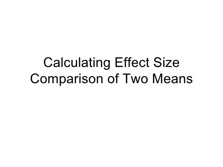 Calculating Effect Size Comparison of Two Means