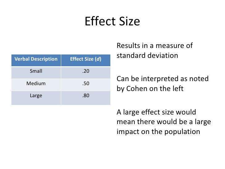 how to know when your effect size is moderate