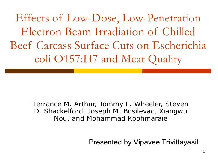 Effects of Low-Dose, Low-Penetration Electron Beam Irradiation of Chilled Beef Carcass Surface Cuts on Escherichia coli O1...