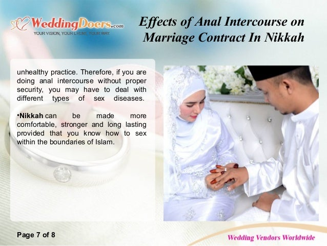 Effects Of Anal Intercourse On Marriage Contract In Nikkah