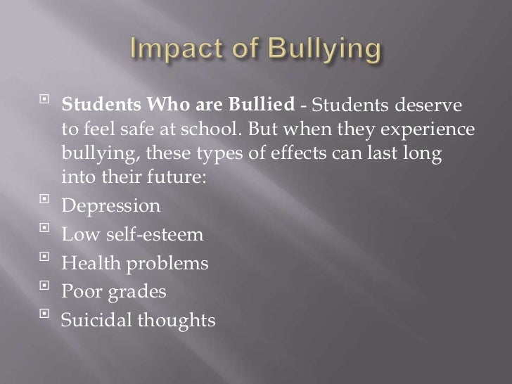 The impact of bullying on victims