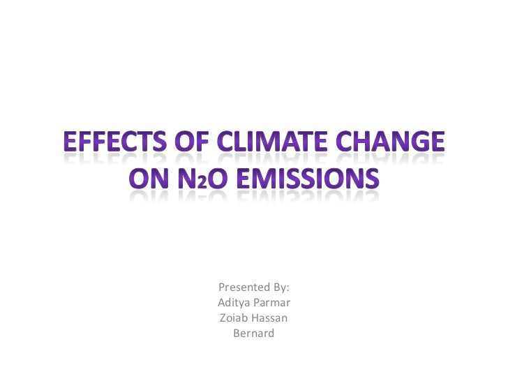 Effects of Climate Change oN N2O Emissions <br />Presented By: <br />Aditya Parmar <br />Zoiab Hassan <br />Bernard <br />