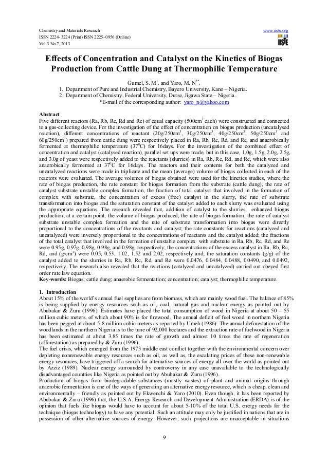 Chemistry and Materials Research www.iiste.org ISSN 2224- 3224 (Print) ISSN 2225- 0956 (Online) Vol.3 No.7, 2013 9 Effects...