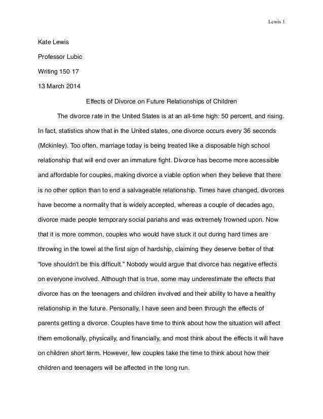 Essay In English For Students Lewis  Kate Lewis Professor Lubic Writing    March  Effects Of  Divorce  Essay Format Example For High School also Essay On Pollution In English Effects Of Divorce Pdf Persuasive Essay Examples For High School