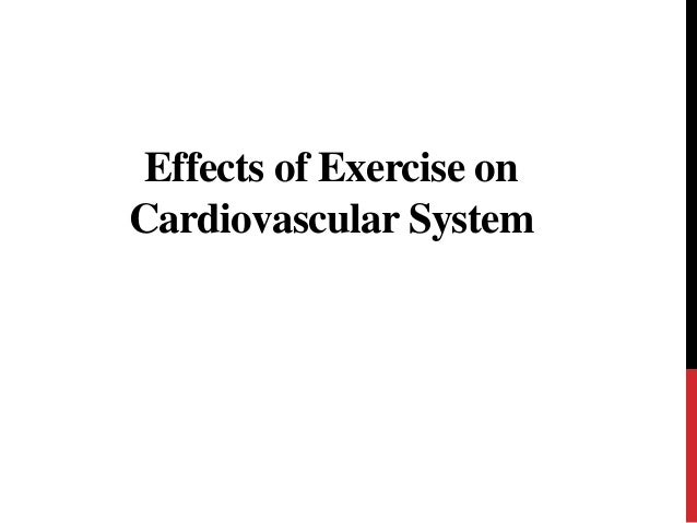 effects exercise cardiovascular system essay The effects of exercise on the circulatory system short term effects during exercise the heart rate increases rapidly this provides the muscles with the necessary oxygen and nutrients to provide the muscles with energy during exercise, cardiac output is increased cardiac output = stroke volume x heart rate.
