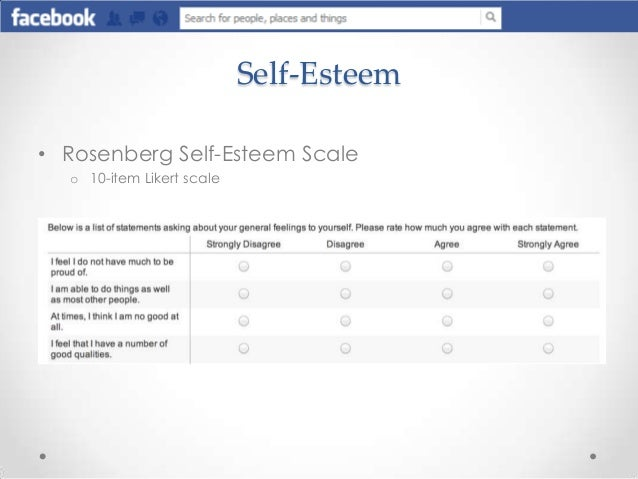 evaluation of rosenbergs self esteem scale Self-esteem reflects an individual's overall subjective emotional evaluation of his or her own worth it is the decision made by an individual as an attitude towards.