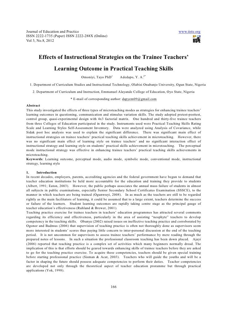 Effects Of Instructional Strategies On The Trainee Teachers Learning