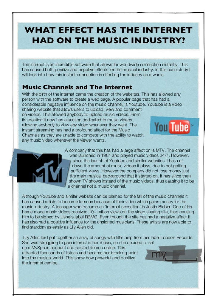 the internets effect on the music