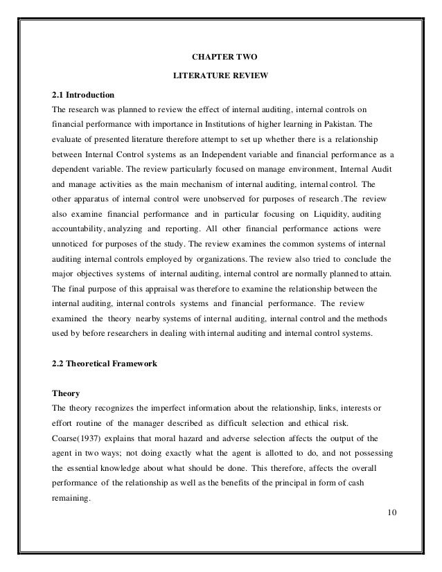 literature review of internal control