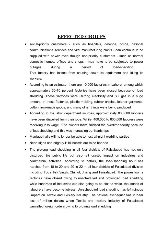 essay on loadshedding of cng and electricity