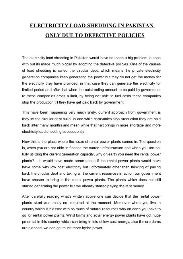 Essay on loadshedding of electricity in pakistan