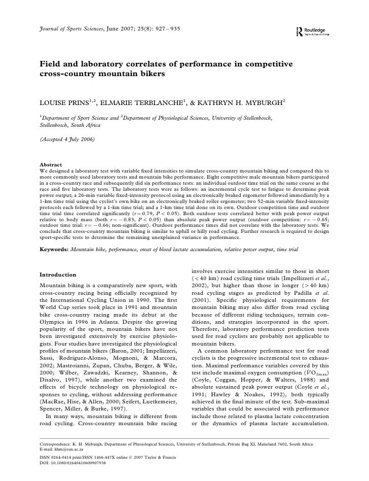 Journal of Sports Sciences, June 2007; 25(8): 927 – 935     Field and laboratory correlates of performance in competitive ...