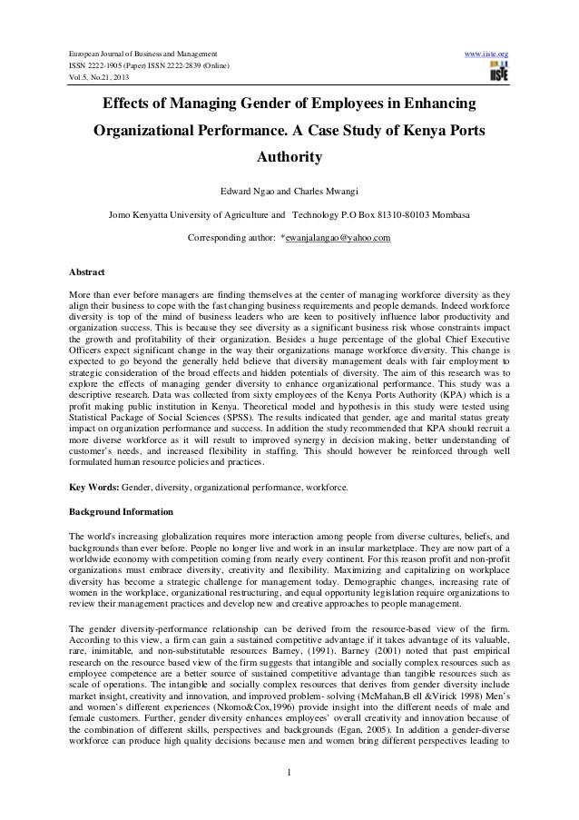 an analysis of the impact of diversity on organizational performance Its impact on diversity  institutional environments and organizational contexts to diversity-related  work group diversity and group performance:.
