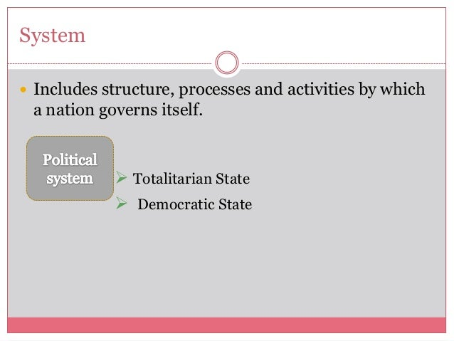 System Includes structure, processes and activities by whicha nation governs itself. Totalitarian State Democratic State