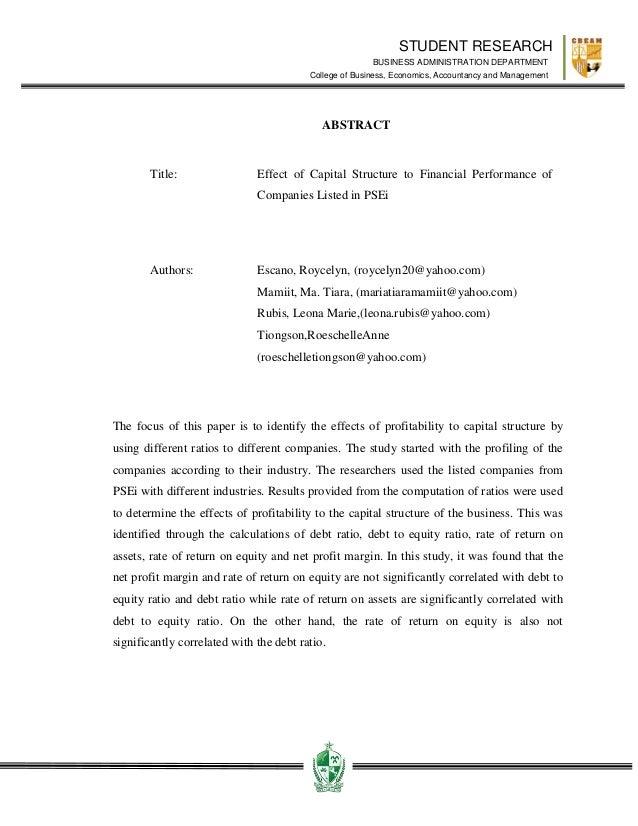 impact of capital structure on profitability Effect of capital structure on firm profitability (an empirical evidence from london, uk)  explore the impact of capital structure on firm performance  effect of capital structure on.