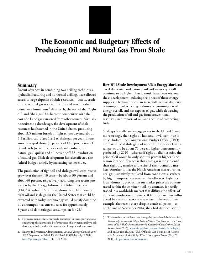 economic impact of shale gas and tight oil Directorate general for internal policies policy department a: economic and scientific policy impacts of shale gas and shale oil extraction on the environment and on.