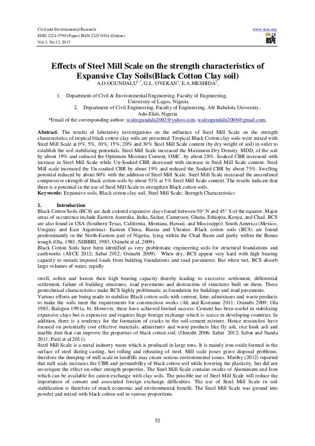 Civil and Environmental Research ISSN 2224-5790 (Paper) ISSN 2225-0514 (Online) Vol.3, No.12, 2013  www.iiste.org  Effects...
