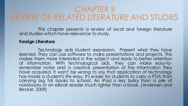 related literature in local 9 chapter 2 review of related literature and studies this chapter presents the related literature and studies after the thorough and in-depth search done by the researchers.