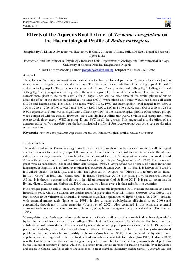 Advances in Life Science and Technology www.iiste.org ISSN 2224-7181 (Paper) ISSN 2225-062X (Online) Vol.11, 2013 19 Effec...