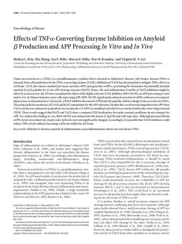 12052 • The Journal of Neuroscience, November 12, 2008 • 28(46):12052–12061  Neurobiology of Disease  Effects of TNF␣-Conv...